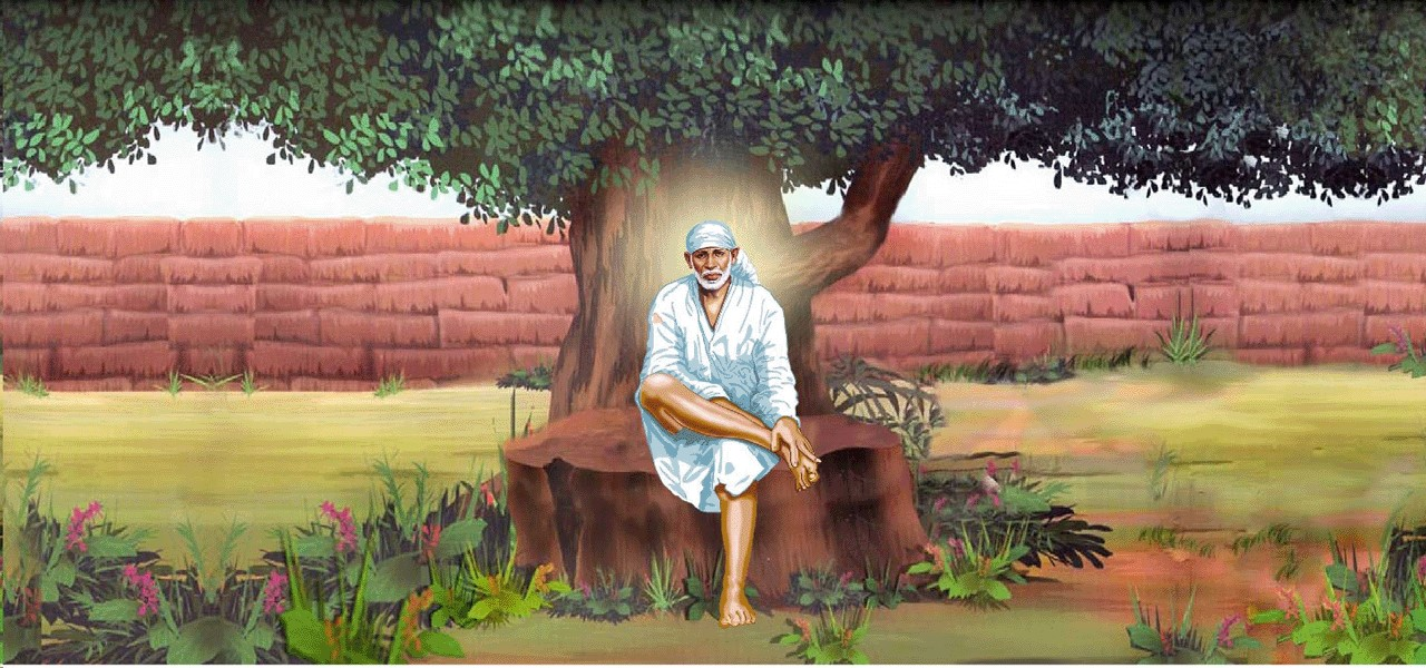 Image result for Sai Baba sitting under the neem tree